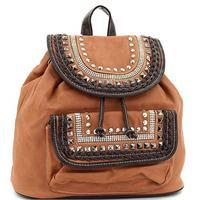 Tan Braided Stud Eco Backpack